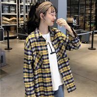 三木子快时尚女装~春季新款韩版复古撞色格子衬衫翻领时尚衬衣