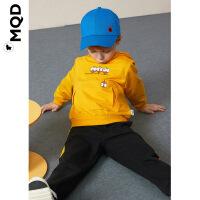 MQD男童秋装套装2019新款儿童洋气两件套小童宝宝黄色运动