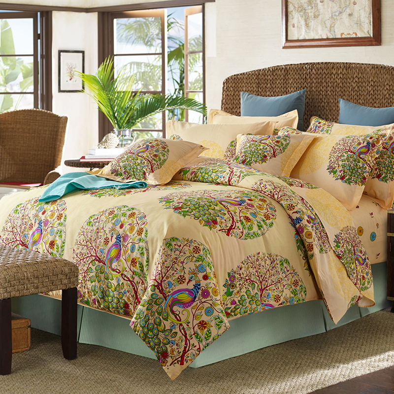当当优品 纯棉活性印花双人六件套梦幻花园当当自营 精梳纯棉 柔软舒适 吸湿透气