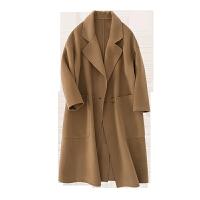 秋冬双面羊绒混纺大衣女宽松大码毛呢外套中长款韩版双面呢