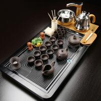 茶具套装 家用四合一整套紫砂功夫茶具 实木茶盘茶台 全自动烧水壶 36件