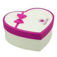 心形礼品盒 大号千纸鹤礼盒生日礼物包装盒 情人节礼物盒礼品包装盒 米白盖玫红边