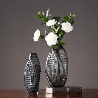 美式玻璃花瓶摆件 手工异形玻璃摆件 家居客厅玄关样板间插花花器