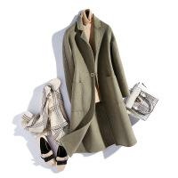 反季羊毛混纺大衣女双面呢毛呢外套中长款秋新款韩版零羊绒混纺呢大衣