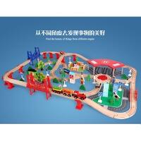 【益智玩具】电动火车头130件木制轨道托马斯小火车套装儿童玩具积木质2-7岁 官方标配