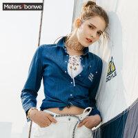 美特斯邦威牛仔衬衫女士夏装新款字母印花长袖衬衣百搭韩版