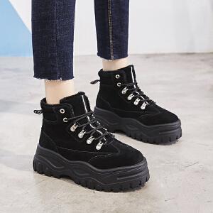 ZHR2018冬季新款网红系带短靴子女潮厚底韩版百搭棉鞋短筒休闲鞋