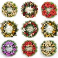 圣诞花环门挂墙壁装饰挂件商场酒店场景布置藤条挂饰圣诞节装饰品