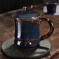 【优选】手绘马克杯大容量陶瓷杯带盖茶水分离水杯办公室泡茶杯子个人定制