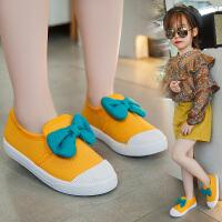 春季儿童帆布鞋女童鞋子蝴蝶结学生板鞋休闲鞋软底宝宝鞋