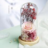 永生花礼盒玻璃罩保鲜花干花玫瑰花情人节礼物摆件