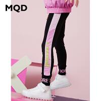 MQD童装女童打底裤2020春季新款儿童字母拼块撞色胶印条纹弹力裤