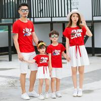 20119夏装新款潮 母女装两件套三口全家装短袖夏季T恤亲子装