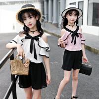 儿童韩版雪纺半袖露肩洋气两件套潮2019新款女童夏装短袖短裤套装