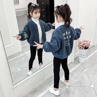 2019冬季新款韩版洋气加绒加厚呢子夹克童装女童秋冬装毛呢外套