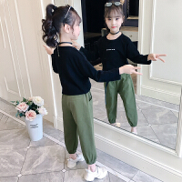 2019春秋季新款韩版洋气儿童卫衣工装裤女童秋季童装套装