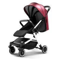 婴儿车可坐可躺便携式手推车宝宝避震轻便折叠车1-3岁伞车a315zf10 白管 酒红顶蓬