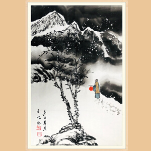 中国美术协会会员,中国青年美术家协会理事 吴大恺(雪景2)ZH438