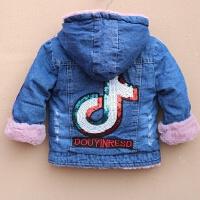 6女童加绒牛仔外套2儿童宝宝加厚4韩版毛领夹克上衣3-5岁秋冬装潮