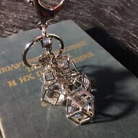 镂空镶钻水晶汽车钥匙扣女士包包挂件时尚生日礼物情侣小挂件