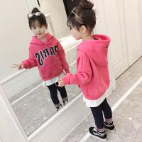 2019秋冬季新款儿童韩版洋气带帽套头衫保暖上衣女童加绒加厚卫衣