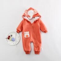 婴儿连体衣冬季宝宝爬服长袖初生哈衣双层加厚新生儿0外出衣服1岁XM-1