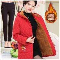 中老年女装绣花棉衣中长款冬装外套妈妈棉袄女冬装加厚加绒保暖衣 红色2 XL