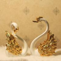 [新品上市]欧式天鹅摆件新婚新房家居摆设装饰客厅摆工艺品创意乔迁结婚礼物