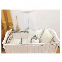 婴儿床上用品七色花婴儿床品 白色婴儿床围浅灰色宝宝床品三件套ZQ-YS015