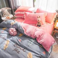 韩版加厚保暖法莱绒四件套珊瑚绒冬季床上用品双面法兰绒被套床单