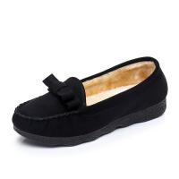 秋冬老北京布鞋女保暖棉鞋平底工作鞋女黑色蝴蝶结加绒豆豆鞋