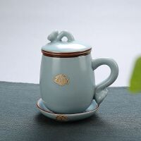 【品牌热卖】汝窑茶杯冰裂个人杯子办公室茶具带盖陶瓷四件套过滤开片品茗单杯 天蓝色 不带礼盒