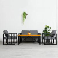 现代简约办公家具商务办公室接待会客办公沙发茶几组合铁艺时尚 组合