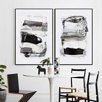 北欧风格抽象画简约客厅背景墙装饰画黑白极简艺术画卧室餐厅壁画