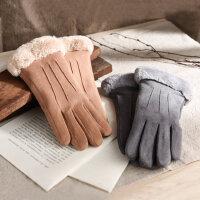 手套女士冬天秋季保暖麂皮绒可爱学生加绒加厚防寒骑车开车触摸屏