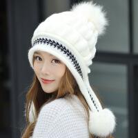 护耳针织毛线帽子女冬季时尚棉帽潮韩版百搭加厚风保暖可爱手套 均码有弹性