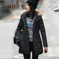 【满200减100 上不封顶】AMII[极简主义]冬装新款纯色连帽毛领宽松中长羽绒服女
