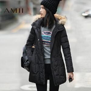 AMII[极简主义]冬装新款纯色连帽毛领宽松中长羽绒服女