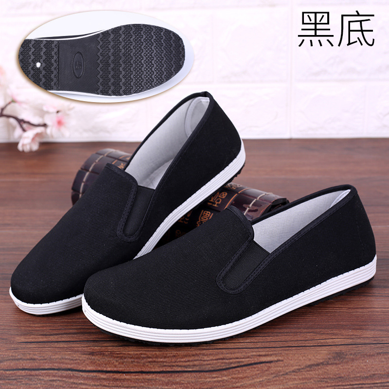 老北京布鞋男工作休闲男鞋中老年一脚蹬懒人鞋春季平底黑布鞋   批量拍下不发货