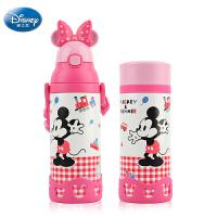 包邮!迪士尼米妮吸管保温杯 500ml 一壶双盖 宝宝学饮杯婴儿童水杯 粉色