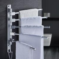 毛巾架免打孔不锈钢挂架卫生间浴室置物架折叠活动旋转毛巾杆双杆