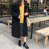 森系2018流行毛呢外套女冬季新款韩版宽松小个子短款呢子大衣学生 均码