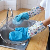 洗碗手套女耐用加绒洗锅刷碗抹布厨房神器防水不沾油家务非竹纤维 L