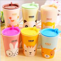 韩国餐具卡通萌物陶瓷杯 萌兔早餐咖啡牛奶杯子水杯带盖