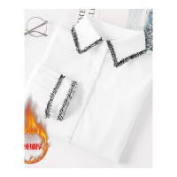 白衬衫女长袖秋冬新款韩范百搭学生宽松加厚加绒打底保暖衬衣