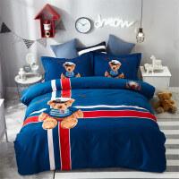 纯棉卡通磨毛四件套全棉男孩1.8m儿童宿舍三件套床单被套床上用品定制