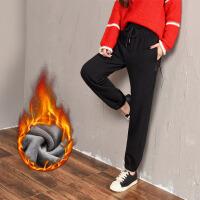 休闲裤加绒女保暖不倒绒卫裤加厚收口简约风bf中学生冬季运动裤女