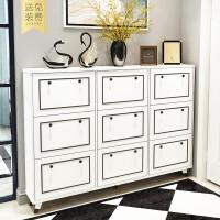 鞋柜超薄17家用白色玄关柜简约现代大容量翻斗门厅柜进门口鞋架 组装