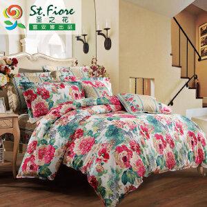 [当当自营]富安娜家纺纯棉四件套1.5米1.8米床印花套件 凯伦庄园 粉色 1.8m