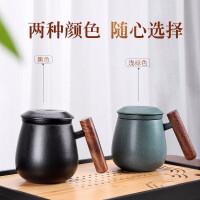 唐丰陶瓷过滤办公杯户外木把个人杯便携收纳茶水杯家用饮水杯
